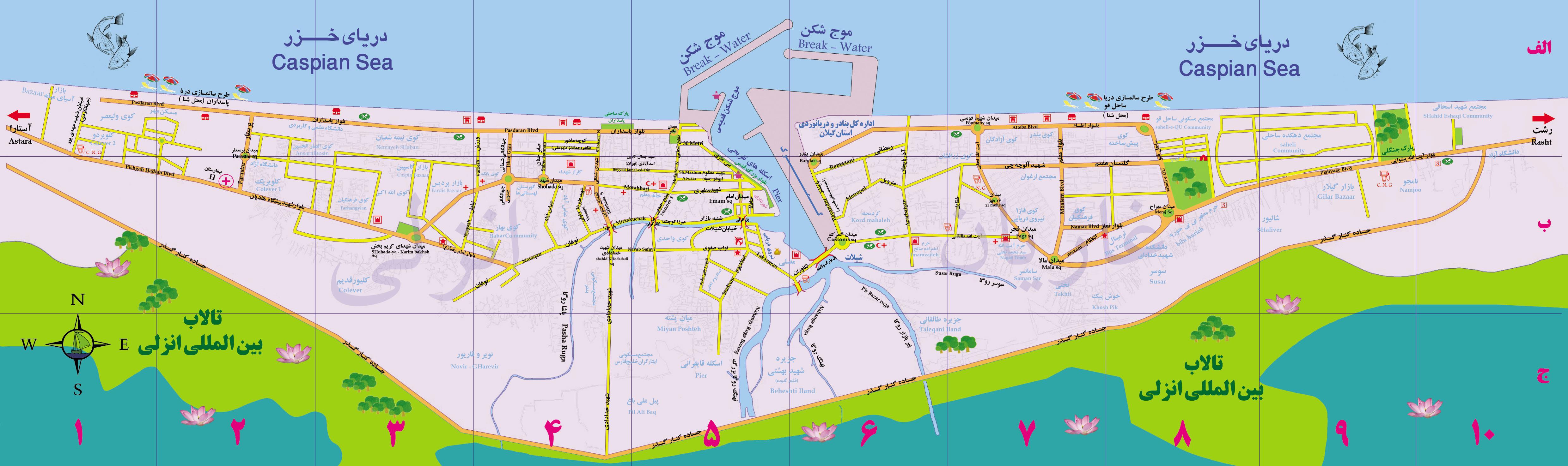 نقشه بندر انزلی